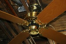 "Restored Vintage Casablanca Four Seasons Brass 48"" Ceiling Fan Made in USA!"