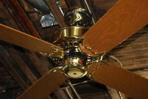 "Restored Vintage Casablanca Four Seasons Brass 48"" Ceiling Fan Made in USA!"