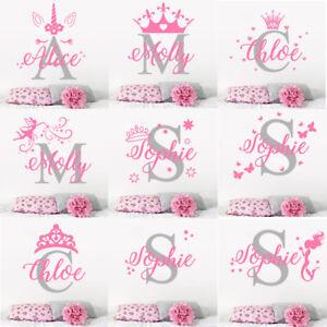Custom Name Personalised Wall Sticker Nursery Girls initial Baby boys Bedroom