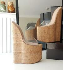 Cork Wedge 30 cm 39 PVC clear leather leder sole fetish mules high heels