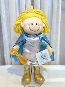"""Russ Berrie Little Prince Doll Regal Baby Plush Stuffed Toy Cape Crown HTF 12"""""""