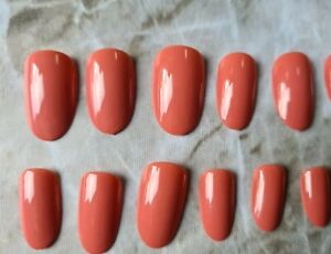 Oval press on nails, short nails, glossy coral pink nails, luxury stick on nail