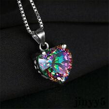 Elegant 925 Silver Necklace Jewelry Rainbow Chain Heart-shaped Pendant Topaz