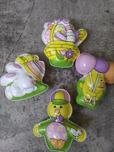 "4-Vintage Plastic Bunny Rabbit Chick Easter Candy Containers approx 4"" x 3"""