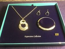 "Bella Perlina Expressions Crystal & Silver Bracelet Earrings & 32"" Necklace Set"