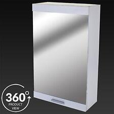 Marko Bathroom Wall Cabinet Single Mirror Door Matt White Wood Storage Cupboard
