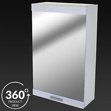 Bathroom Wall Cabinet Single Mirror Door White Wood Storage Cupboard Furniture
