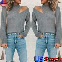 Women Open Shoulder Knitted Sweater Tops Ladies Casual Cut-out Pullover Jumper