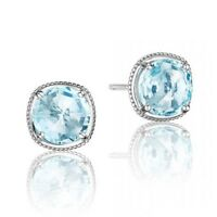 Certified 4.00Ct Blue Topaz Solitaire Studs Gemstone Earring 14K Real White Gold