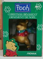Disney Winnie The Pooh Christmas Ornament Pooh ice skating green and blue scarf