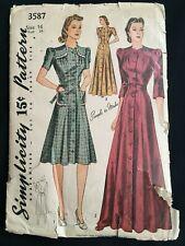 """VTG 1940s Simplicity 3587 Button Down Front Dress Housecoat Sz 16 Bust 34"""""""