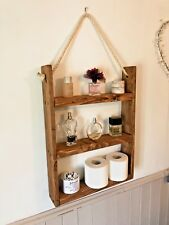 Rustic Hanging Ladder Shelf With Rope Wall Mounted Handmade
