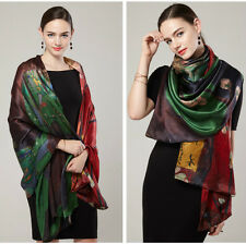 """Women 100 Mulberry Silk Long74""""l25""""w Scarf Shawl Ladies Soft Double Layered1233"""