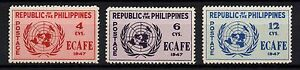PHILIPPINES, SCOTT # 516-518, SET OF 3 UNITED NATIONS EMBLEM ,MINT NEVER HINGED
