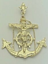 New Solid 10K Yellow Gold Anchor Mariner Cross Jesus Crucifix Pendant 19.5 grams