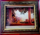 "Maxfield Parrish ""Daybreak"" Art Print Repro w Vtg Carved Frame 12 x 10 No Glass"