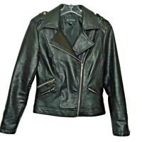 INC International Concepts Womens Biker Moto Jacket XS Faux Leather Worn Once