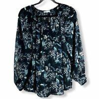 Women's Size Medium Pleione Sheer Black Floral Print Long Sleeve Blouse