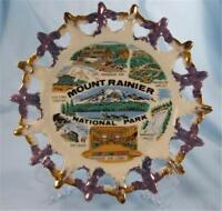 Vintage Mount Ranier National Park Souvenir Plate Blue & Gold Collector Nice (O)