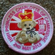 Birth of princess Charlotte badge. Girl Guides. Can be sewn on to blankets. Pink