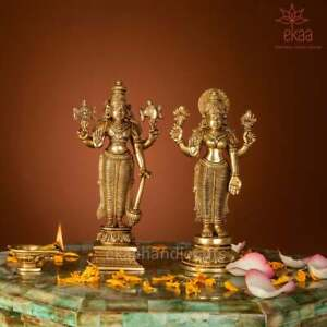Handmade Brass Lord Vishnu And Laxmi Statue Goddess Of Wealth Protector