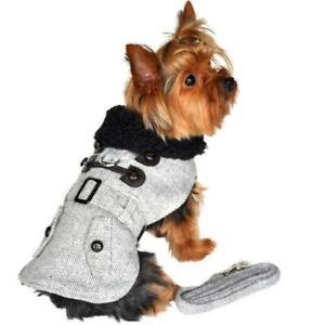 Doggie Design Grey Herringbone Designer Harness Coat and Matching Leash  XS-2XL