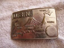 Vintage USN Japan Belt Buckle Military Bases