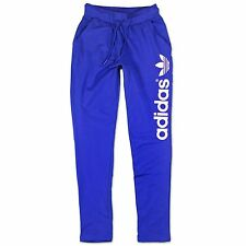 ADIDAS ORIGINALS WOMEN BIG TREFOIL TRACKSUIT BOTTOMS SPORTS PANTS BLUE 34