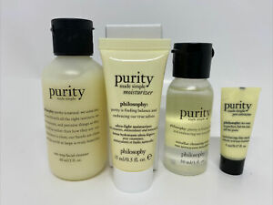4 SET PURITY SIMPLE FACIAL CLEANSER MICELLAR WATER  MOISTURIZER  PORE CLAY MASK