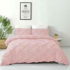 Single/Double/Queen/King Diamond Embroidery Pintuck Quilt/Duvet Cover Set-Blush