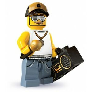 RARE Lego Minifig series 3 Rapper MC DJ with microphone, speakers equipment, cap