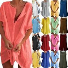 Ladies Linen Tunic Tops Blouse Shirt Dress Plain Casual Kaftan Dresses Plus Size