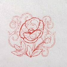 Embroidered 100% Egyptian Cotton Face Cloth / Flannel -  Poppy