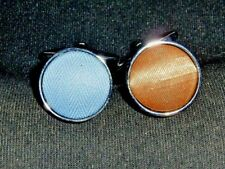 Gold Round Cufflinks New Blue &