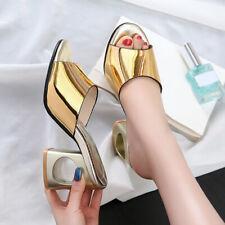 Womens Slipper Open Toe Casual Shoes Block Heel Mules Slip On Sandals 2019 HOT