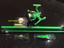 Lake / coast  Green 1.95m Fishing Rod Fishing Reel Line Fitted to Reel & lures