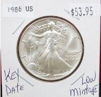 1986 Silver American Eagle BU 1 oz Coin $1 Dollar Uncirculated U.S. Mint, Patina