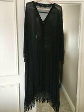 Black PEIGNOIR Silk Chiffon Robe Loungewear Womans Size Med