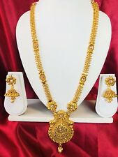 Bollywood Indian Bridal Temple Chain Necklace Earrings Jewellery Gold Set H21