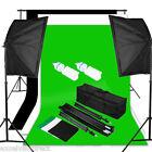 Photo Studio Black White Green Backdrop Screen Background Stand Light Bag Kit UK