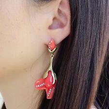 Oscar de la Renta Peach Magnolia Resin Flower Gold Tone Drop Earrings