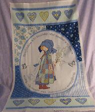 "HOLLIE HOBBIE Fabric Panel Blue Hearts Love Friendship 36"" x 44"" Free Shipping"