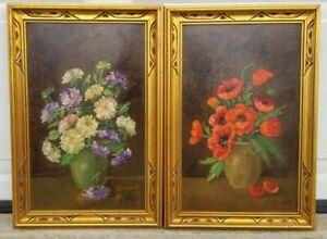 HENRY LEON SANGER (1892-1949) Pair of Still Life Flower Oil Paintings