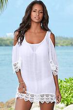 White Beach Dress Cover up Crochet Lace Cold Shoulder Beachwear 8/10 UK SELLER