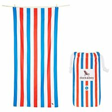 Dock  Bay Microfibre Towel - Beach  Travel Blue  Red - Extra Large 200x90cm