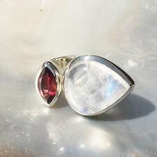 Mondstein Ring, 925er Silber, Edelsteinring (21599), mit Granat