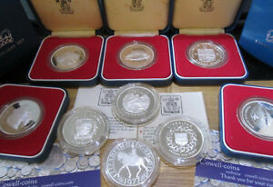 1977 - 1978 ROYAL MINT SILVER PROOF SIVER JUBILEE COINS VARIOUS UK FALKLANDS ECT