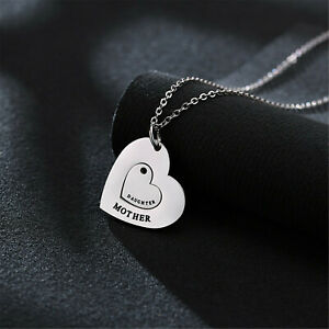 1 Pair Silver Plated Mother Daughter Love Heart Matching Pendant Choker Necklace