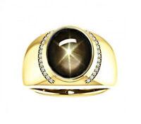 Natural Black Star Sapphire Gemstone 925 Sterling Silver Men's Ring