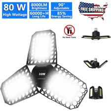 80W LED Shop Light Super Bright Garage Ceiling Lights Deformable 8000LM Bulb